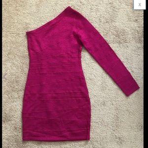 Fuchsia Shiny Sparkly One Shoulder Bandage Dress M